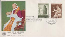 VATICAN  1965 N°434 / 437  Oblitéré  Sur 2 Enveloppes   Paul VI Aux Nations Unies - Oblitérés