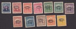 El Salvador, Scott #O127-O132, O134-O136, O138-O140 Reprints, Mint Hinged, Regular Issues Overprinted, Issued 1897-98 - El Salvador