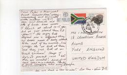 """Beau Timbre , Stamp """" Buffle """" + Vignette Avion Sur Carte , Postcard , 12 XI 97 , Beau Cachet - Afrique Du Sud (1961-...)"""