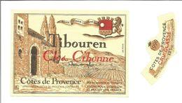 """Etiquette De VIN Des COTES DE PROVENCE """" TIBOUREN Clos Cibonne Cru Classé 1990 """" - Roséwijn"""