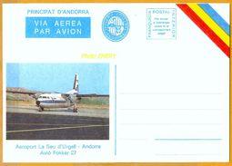 Andorra Viguerie Andorre**LUXE 1983 Aérogramme 7 Aéroport - Timbres