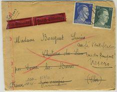3 Lettres. 1943 Camp De Sankt Valentin Pour Cours-les-Barres. Contôle. Exprès. Autriche. Austria. - Allemagne