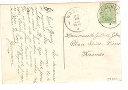 TP 137 S/CP Fantaisie C.Fortune Herchies Centre Vide V.Wasmes C.d'arrivée PR4841 - Fortune Cancels (1919)