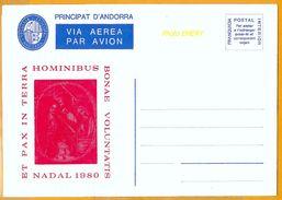 Andorra Viguerie Andorre**LUXE 1980 Aérogramme 1 Noël - Timbres