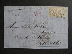 L 259 - TB Lettre Affranchie  Avec Paire Du N° 59, De Lyon Pour Bruxelles En Belgique ( Le 18/11/1873). - 1849-1876: Classic Period