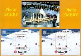 Andorra Viguerie Andorre**LUXE 1988 Bloc Feuillet 16+16A Bleu-nuit+17 Les 3 BF, J.O. Calgary Et Séoul - Viguerie Episcopale