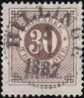 SWEDEN - Scott #35 Numeral 'Perf. 13' (*) / Used Stamp - Oblitérés