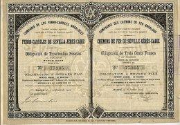COMPAGNIE DES CHEMINS DE FER ANDALOUS / CHEMINS DE FER DE SEVILLE - XERES - CADIX 1907 - Railway & Tramway
