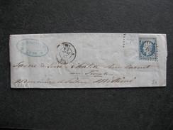 L 268 - TB Lettre Affranchie  Avec N° 14f, De Lyon Pour Chalon Sur Saone ( Le 24/06/1854). - 1849-1876: Période Classique