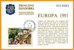Andorra Viguerie Andorre 1981 Bloc Feuillet 5 Europa, Oblitéré Le 05-04-1983 Saint-Julia-de-Loria (agence Postale França - Stamps