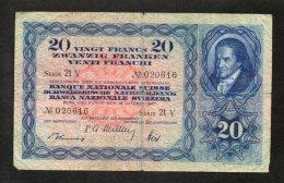 Banconota Svizzera 20 Francs 16/10/1947 - Suiza