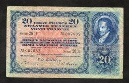 Banconota Svizzera 20 Francs 9/3/1950 - Svizzera