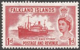 Falkland Islands. 1955-57 QEII. 1d MNH. SG 188 - Falkland Islands
