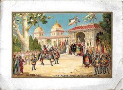 CHROMO HISTOIRE HENRI VIII ENTREVUE AVEC LE LEGAT DU PAPE  COMMERCE MAISON MODELE  FANTAISIE DEUIL - Altri
