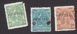 El Salvador, Scott #O305, O307, O310, Mint Hinged, Ceres Overprinted/Surcharged, Issued 1911 - El Salvador
