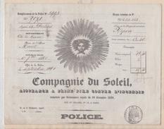 POLICE D'ASSURANCE / COMPAGNIE DU SOLEIL - AGENCE POITIERS - 1861 - 1800 – 1899