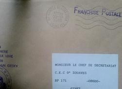 Lettre En Franchise Postal De La Legion De Gendarmerie St Herblain Pour Le Cec 9 Zouaves Givet - Cartas Civiles En Franquicia