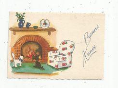 Carte De Voeux , Mignonette , BONNE ANNEE , 1957 , écrite , Chat Blanc , Chien Noir - New Year