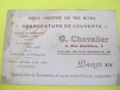 Carte Commerciale /Réargenture De Couverts /G Chevalier/ Rue Blottiére/Paris XIV/ Vers 1920-30  CAC100 - Francia