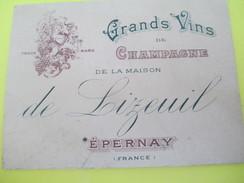 Carte Commerciale à 2 Volets/ CHromo/Grands Vins De Champagne/ Maison Lizeuil/EPERNAY/Guenet/Le Mans/1903  CAC102 - Francia