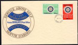 Ca0003 VANUATU 1980, SG 301E-302E, Rotary 75th Anniversary (French Inscription)  FDC - Vanuatu (1980-...)