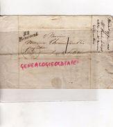 23- RARE CACHET POSTE DE BENEVENT 22-1836- THOMAS DURIS PROPRIETAIRE DUN LE PALLETEAU-EYMOUTIERS-RAYMOND BOURGANEUF - Marcophilie (Lettres)