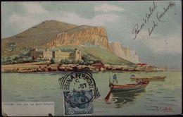 PALERMO Villa Igiea Con Monte Pellegrino - Illustratore S. CIVILETTI - Formato Piccolo Viaggiata Nel 1907 Retro Indiviso - Palermo