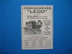 """(1930) Concasseurs """" LEGO """" - LÉON LEGO Constructeur - Le Mans (Sarthe) - Old Paper"""