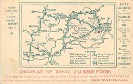 """CPA - CIRCUIT D' AUVERGNE - COUPE GORDON BENETT - 1905 - CARTE PUB OFFERTE PAR """"CHOCOLAT DE ROYAT"""" - TB** - France"""