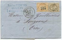 N°30  (gris Brun) + N°38 + GC 404  /  Lettre 3° échelon De Beauvais Pour Songeons (oise) - 1863-1870 Napoleon III With Laurels