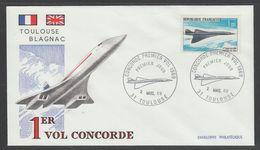ENVELOPPE 1ER JOUR DE FRANCE - PROJET CONCORDE : VOL INAUGURAL LE 2 MARS 1969 - Concorde