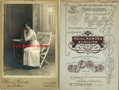 Grand CDV-(CAB) Jeune Femme Songeuse-jolie Pose-photo Marius Marnas Et Lallier à Saint Etienne - Photos