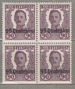 AUSTRIA 1918 Military Post In Italy Block X4 95 Centesimi Overprited MNH (**) #21537 - Unused Stamps