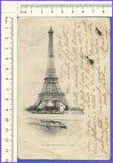M011 Francia Parigi Carte Postale 1903 Torre Eiffel  VG Collemoresco Amatrice Aquila - Tour Eiffel