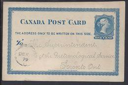 CANADA - Entier Postal One Cent Du 11 Décembre 1879, De Father Point Pour Toronto - B/TB - - 1860-1899 Règne De Victoria