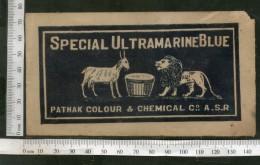 India 1960's Wildlife Lion & Got Brand Ultramarine Dyeing & Chemical Label # L17 - Advertising