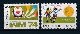 Poland, 1974, Football World Cup, Soccer, MNH, Michel 2315-2316 - Poland