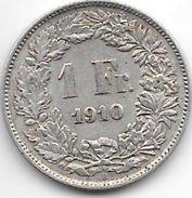 *switzerland 1 Franc 1910  Km 24  Vf+ - Suisse