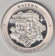 "999/1000 Silber Medaille "" Bayern "" PP   36 Mm DMR Rohgewicht : 14 G Prägung : Hochrelief - Souvenirmunten (elongated Coins)"