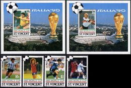 Soccer Football St Vincent Grenadines #713/6 + Bl 54/5 1990 World Cup Italy MNH ** - Coupe Du Monde