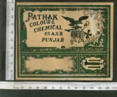 India 1960's Bird Eagle Machine Brand Dyeing & Chemical Label # L38 - Advertising