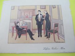 Carte Commerciale à 2 Volets/LAFFONT Tailleur/Rue De Choiseul/Paris Avec Plusieurs Dessins à La Plume/Vers 1930  CAC105 - Textile & Vestimentaire