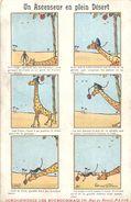 """2 CP Humoristiques """"Un Ascenseur En Plein Désert"""" Girafe Et Singe Et """" Le Brochet Muselé"""" Pub Des Chaussures RAOUL - Publicités"""