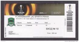 Football. Match Ticket. UEFA EUROPA LEAGUE. 25.02.2016. FC Krasnodar - AC Sparta Praha. - Tickets & Toegangskaarten