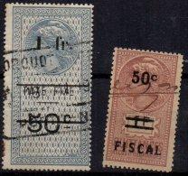 FRANCE - 2 Fiscaux Surchargés - Fiscale Zegels