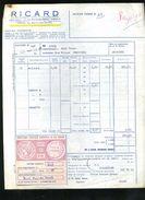 1963 VIEILLE FACTURE DÉCORÉE DISTILLERIE RICARD FACTURE DE CONGÉ 4 CC ROSE - Francia