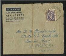 Zanzibar 1955 Air Mail Postal Used Air Letter Aerogramme Cover Zanzibar To Pakistan - Zanzibar (...-1963)