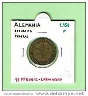ALEMANIA / GERMANY  10 PFENNIG  1950  F  LATON ACERO  KM#108   MBC (LQ)    DL-6670 - [ 7] 1949-… : RFA - Rep. Fed. Alemana