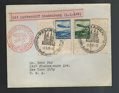 1936 Remagen Germany Hindenburg Zeppelin First Flight Cover To USA FFC LZ129 - Germany