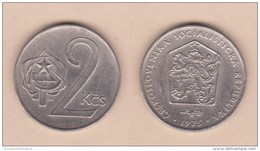 CHECOSLOVAQUIA   2 CORONAS  1.975  CU NI  KM#75    VF/MBC    DL-11.150 - Checoslovaquia